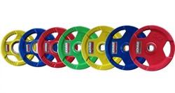 Диски обрезиненные Johns с тройным хватом цветные, вес от 1,25 до 25 кг в ассортименте - фото 21201
