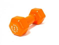 Виниловая гантель для фитнеса Original FitTools 4 кг оранжевая