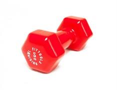 Виниловая гантель для фитнеса Original FitTools 5 кг красная