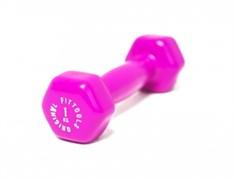 Виниловая гантель для фитнеса Original FitTools 1 кг пурпурная