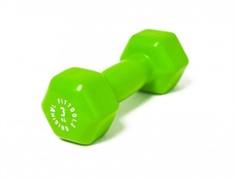 Виниловая гантель для фитнеса Original FitTools 3 кг зеленая